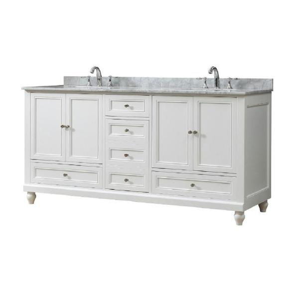 Classic 72 in. W Vanity In White with Carrara White Marble Vanity Top with White Basins