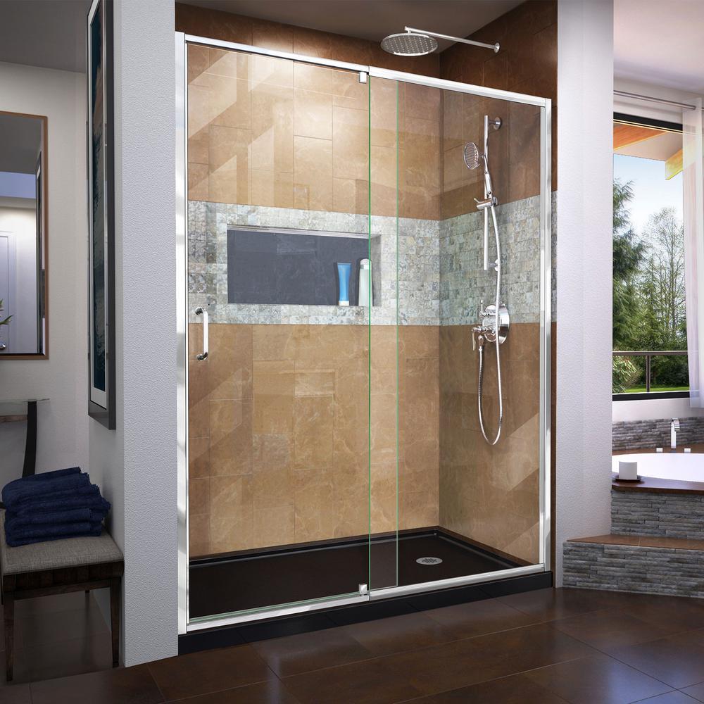 DreamLine Flex 60 in. x 74.75 in. Semi-Frameless Pivot Shower Door ...