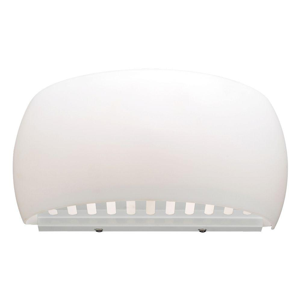 PLC Lighting 1-Light White Wall Sconce with Opal Glass