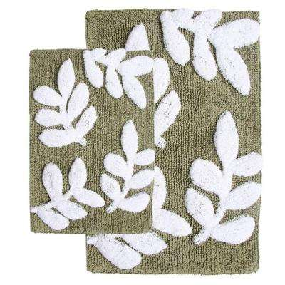 21 in. x 34 in. and 17 in. x 24 in. 2-Piece Monte Carlo Bath Rug Set in Sage and White