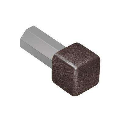 Quadec Dark Anthracite Textured Color-Coated Aluminum 1/4 in. x 1 in. Metal Inside/Outside Corner