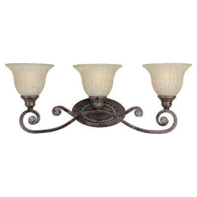 3-Light Rustic Spice Bath Vanity Light with Mica Flake Glass Shade