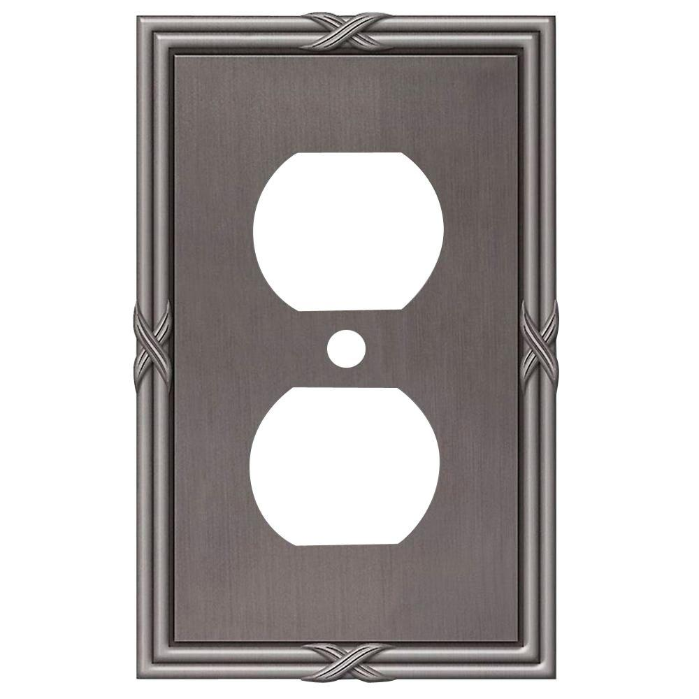 Ribbon and Reed 1 Duplex Wall Plate - Antique Nickel