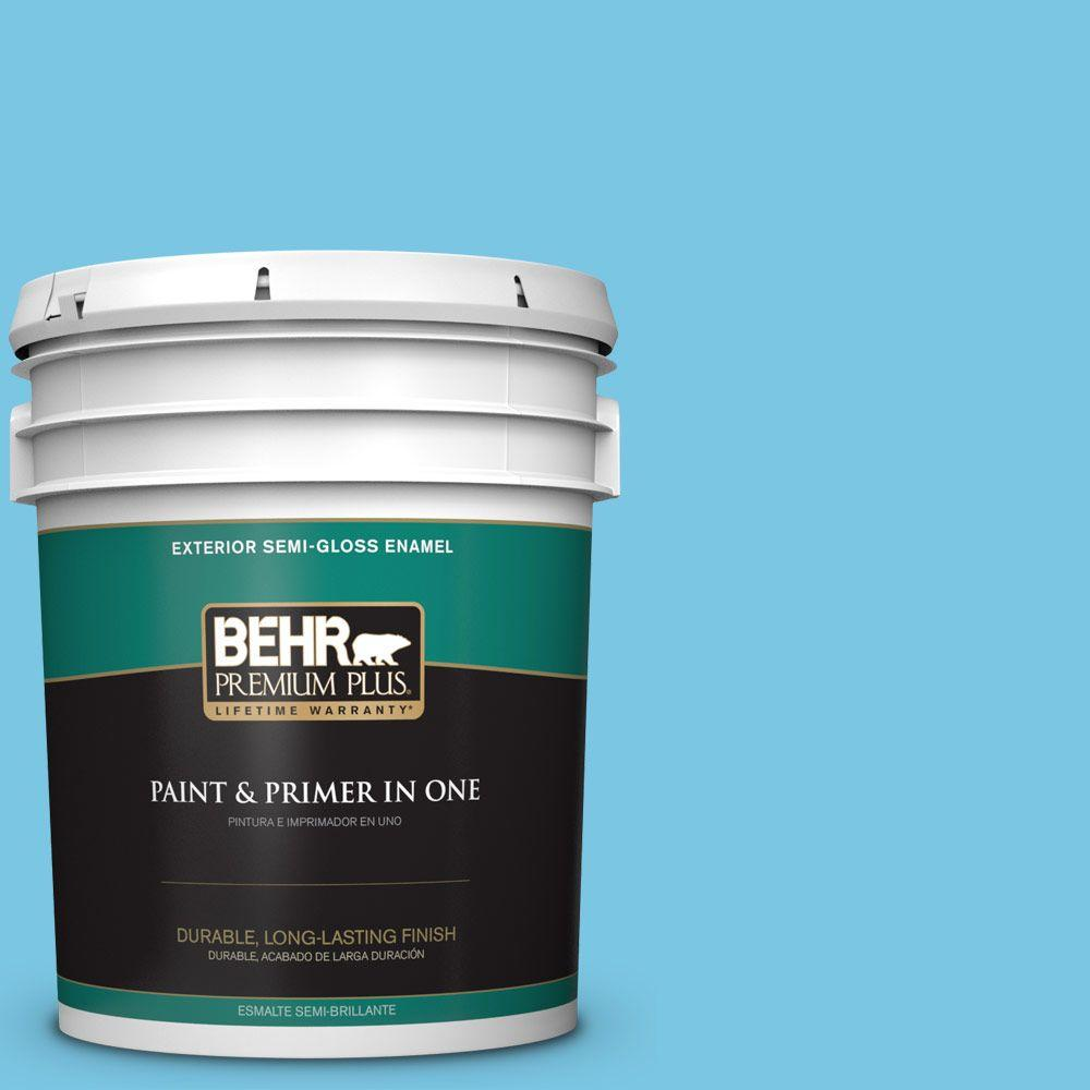 BEHR Premium Plus 5-gal. #530B-4 Bliss Blue Semi-Gloss Enamel Exterior Paint