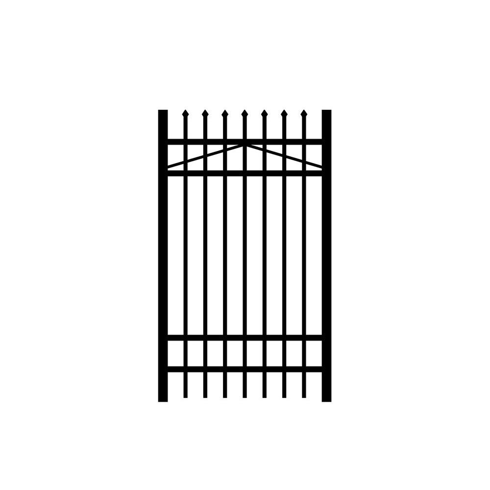 Jerith Washington 3 ft. W x 6 ft. H Black Aluminum 4-Rail Fence Gate