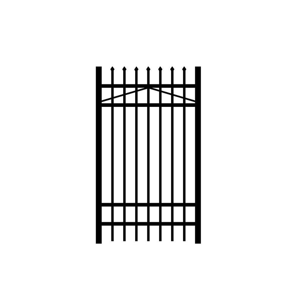 Washington 3 ft. W x 6 ft. H Black Aluminum 4-Rail Fence Gate