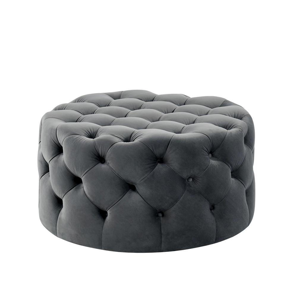 Surprising Moore Gray Round Button Tufted Ottoman Squirreltailoven Fun Painted Chair Ideas Images Squirreltailovenorg
