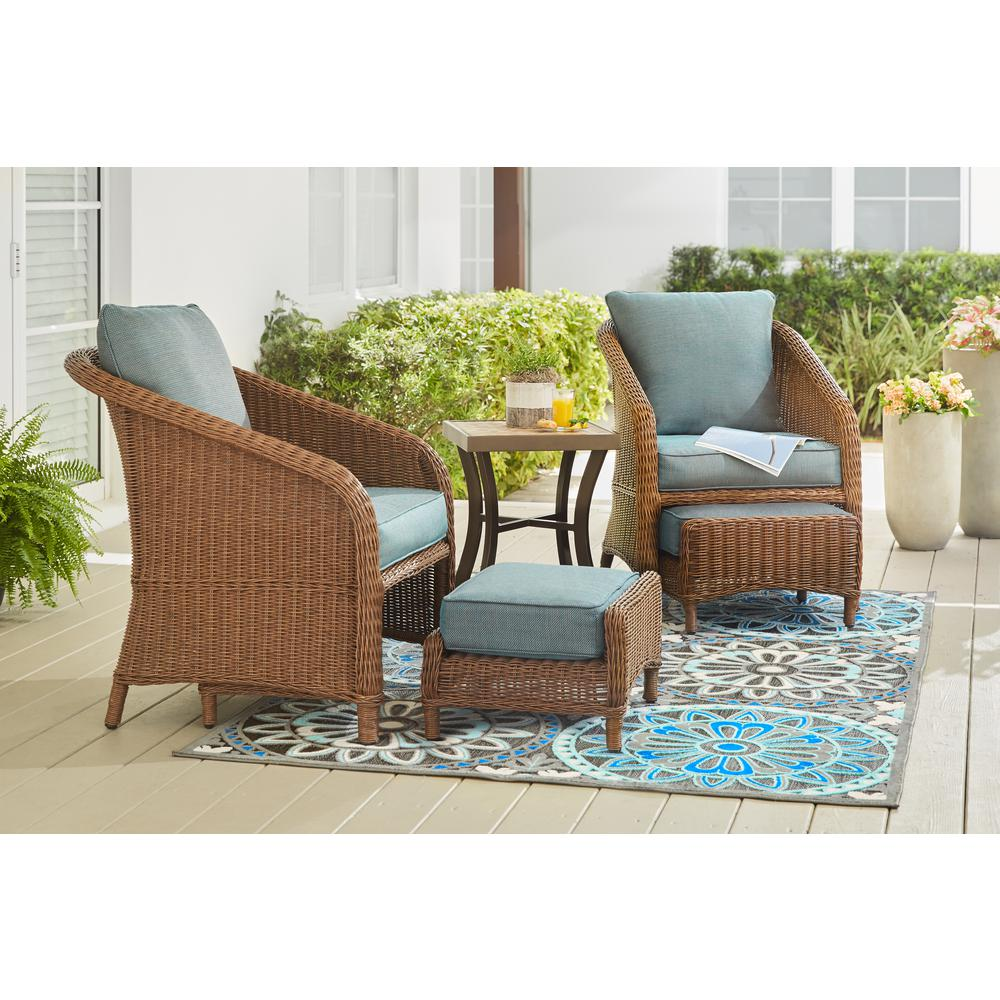 Jefferson 5-Piece Wicker Outdoor Seating Set with Peacock Java Cushions