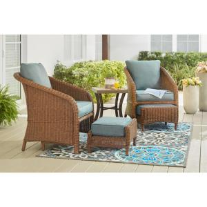 Hampton Bay Jefferson 5-Piece Wicker Outdoor Seating Set with Peacock Java Cushions by Hampton Bay