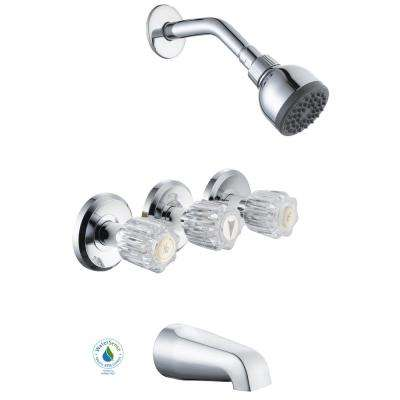 Superbe Aragon 3 Handle 1 Spray WaterSense Tub And Shower Faucet In Chrome (Valve