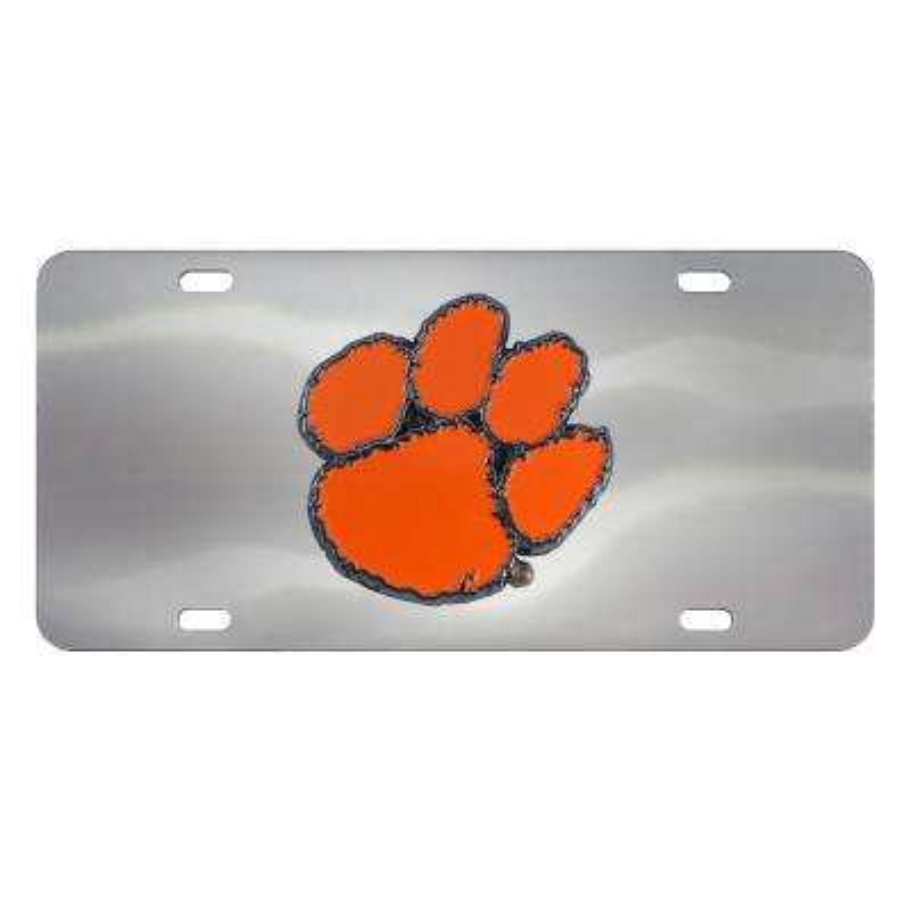 6 in. x 12 in. NCAA Clemson University Stainless Steel Die Cast License Plate