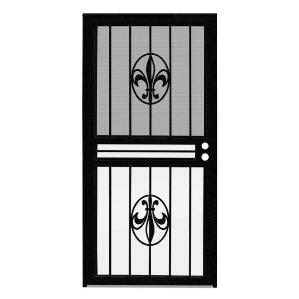 32 in. x 80 in. Fleur de Lis Black Recessed Mount All Season Security Door with Insect Screen and Glass Inserts