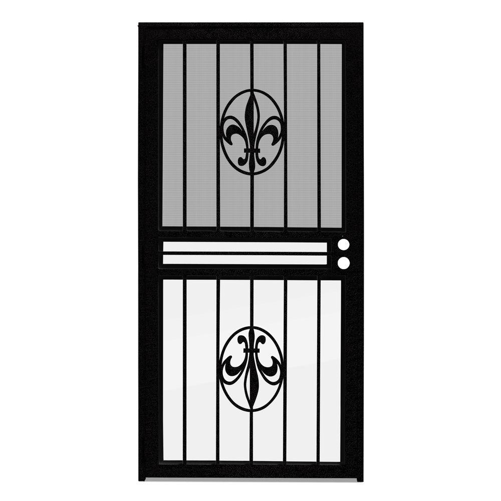 36 in. x 80 in. Fleur de Lis Black Recessed Mount