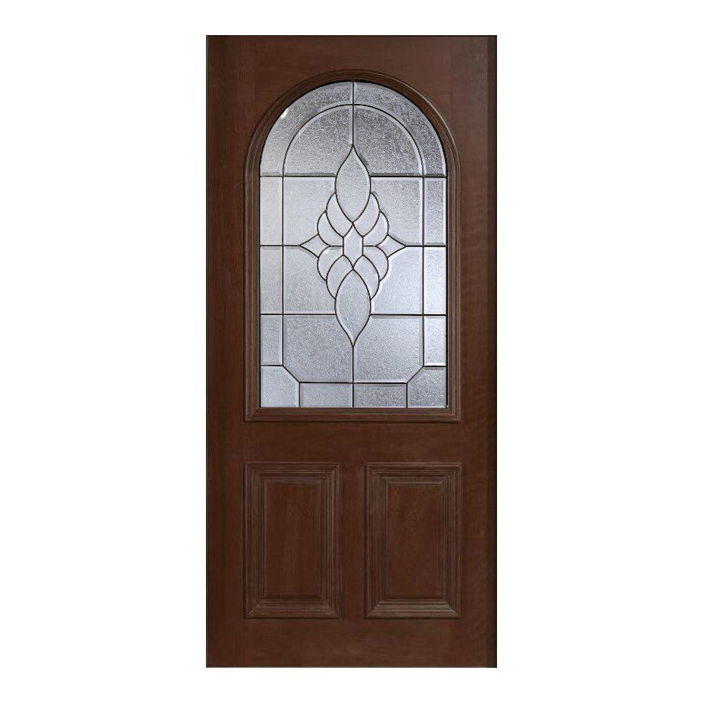 Main Door 36 in. x 80 in. Mahogany Type Prefinished Antique Beveled Patina Roundtop Glass Solid Stained Wood Front Door Slab