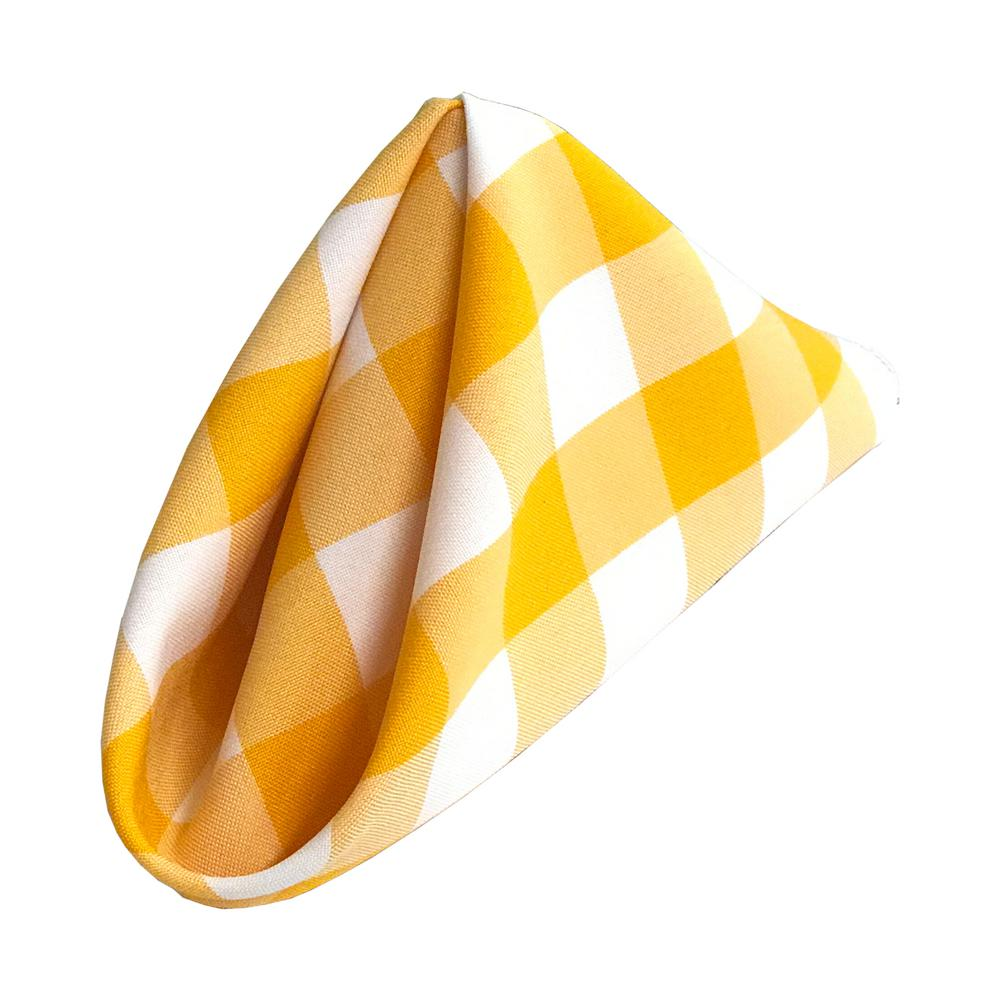 18 in. x 18 in. White and Dark Yellow Gingham Checkered