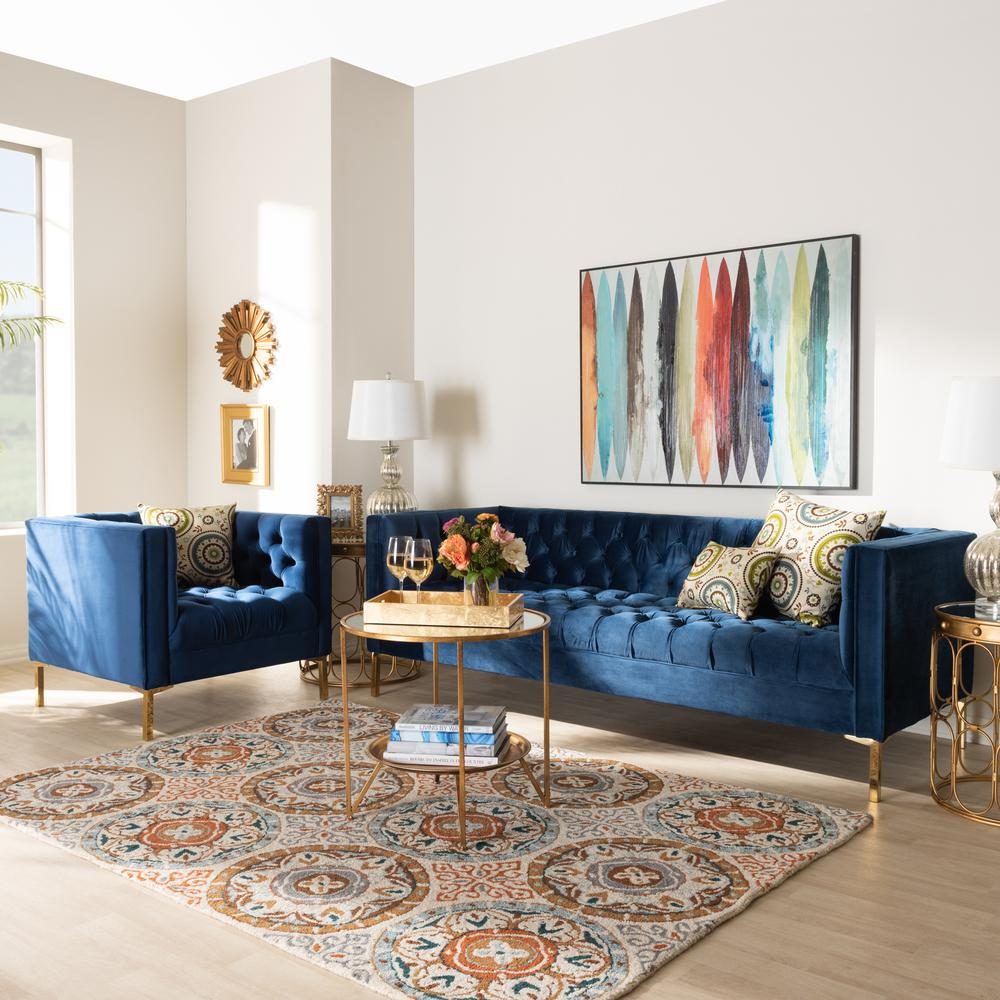 Baxton Studio Zanetta 2-Piece Royal Blue and Gold Living ...