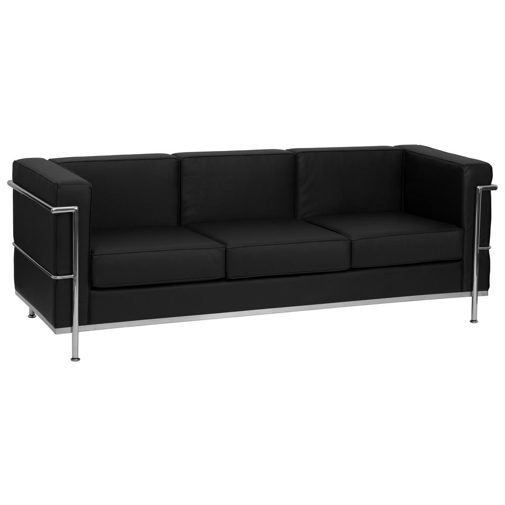 black leather couches to flash furniture hercules regal series contemporary black leather sofa with encasing frame