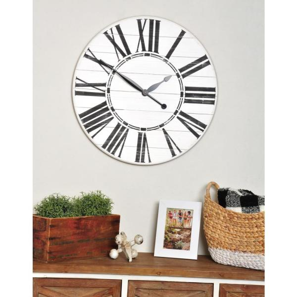Brandtworks Oversized White Farmhouse Wall Clock 36whbkjup Wh The Home Depot