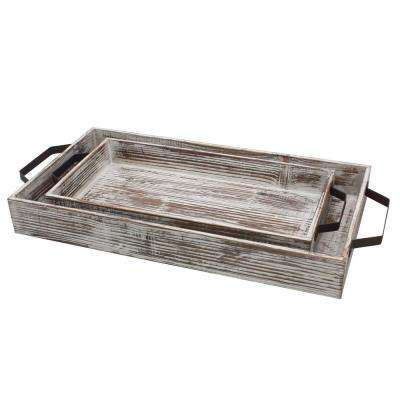 White Wash Wooden Serving Tray Set with Metal Handles (Set of 2)
