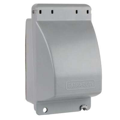 1-Gang Extra Duty While-In-Use Weatherproof Vertical Receptacle Cover, Gray