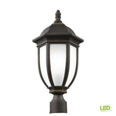 Galvyn 1-Light Outdoor Antique Bronze Post Light with LED Bulb