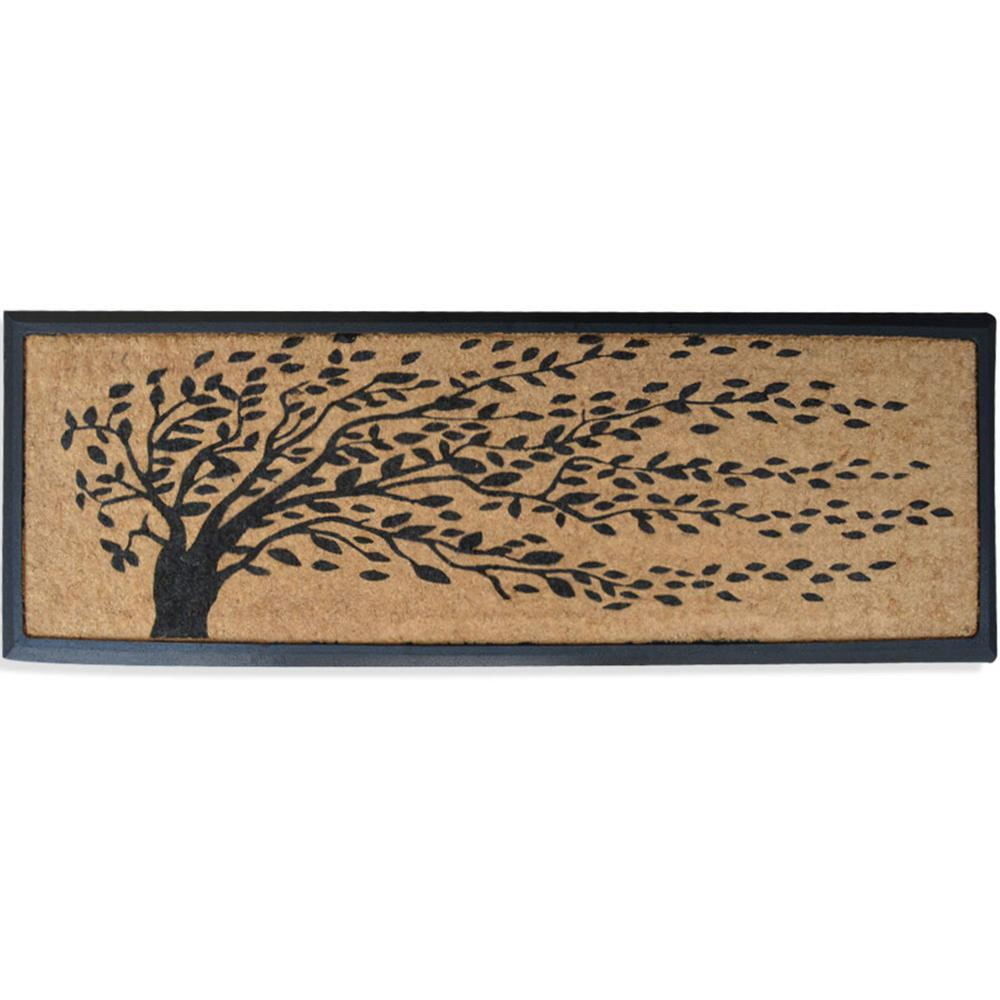 Doormat double door doormat photographs : A1HC First Impression Falling Leaves 16 in. x 48 in. Rubber and ...