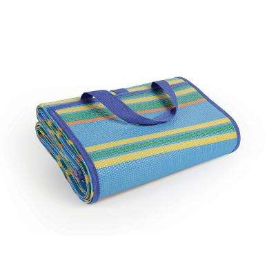 60 in. x 78 in. Handy Mat with Strap, Blue/Green Stripes