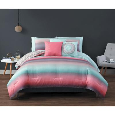 Cypress Ombre Coral/Blue Queen Bed in a Bag