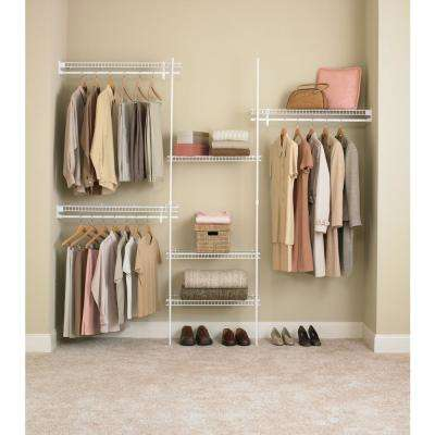 SuperSlide 5 ft. to 8 ft. Metal White Closet Organizer Kit