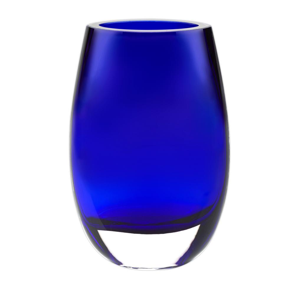 Crescendo cobalt blue european mouth blown crystal vase k945 the crescendo cobalt blue european mouth blown crystal vase k945 the home depot floridaeventfo Image collections