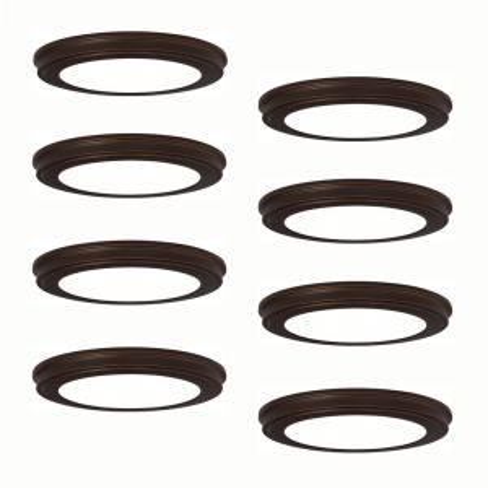13 in. Oil Rubbed Bronze LED Ceiling Flush Mount (8-Pack)
