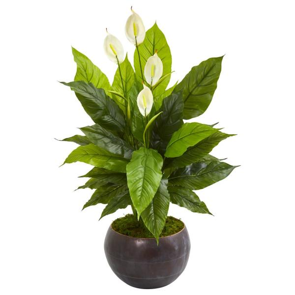 44 in. Spathiphyllum Artificial Plant in Metal Bowl (Real Touch)
