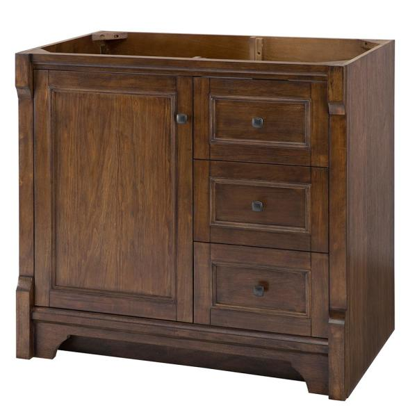Creedmoor 36 in. W Bath Vanity Cabinet Only in Walnut with Right Hand Drawers