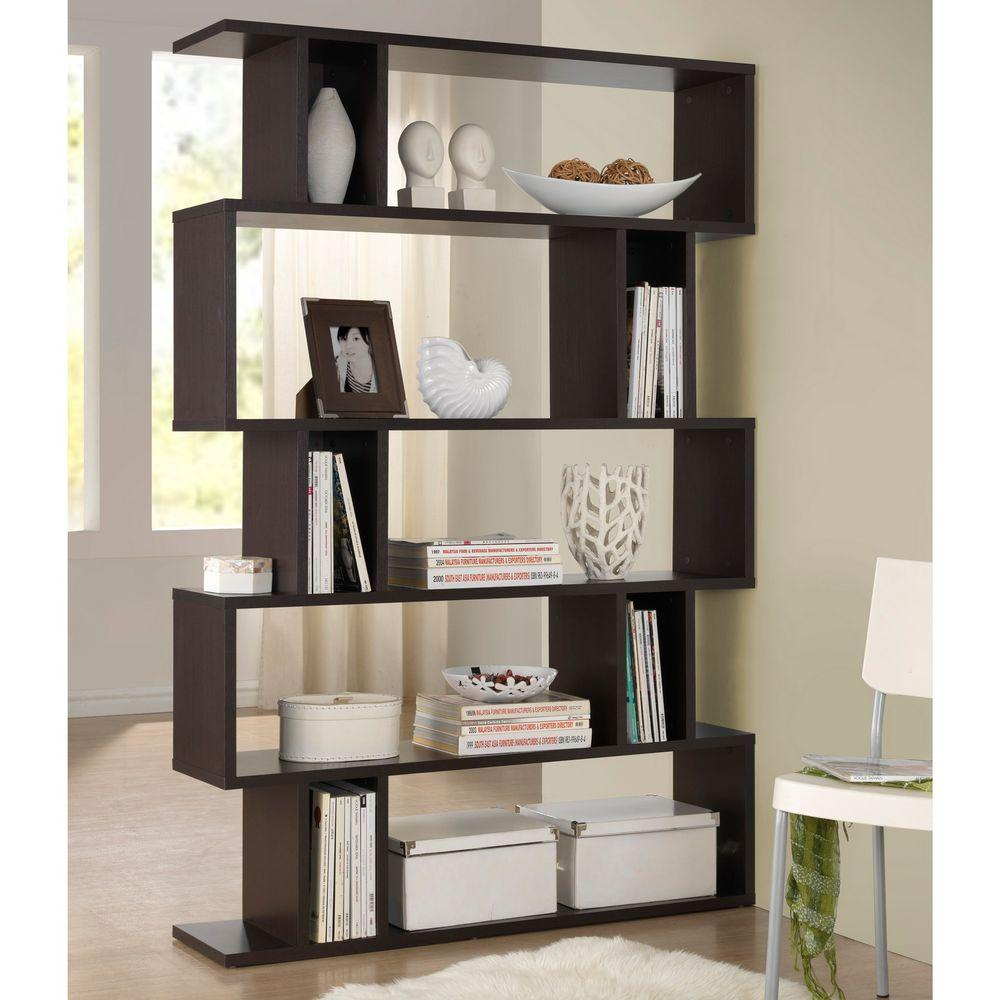 Baxton Studio Goodwin Dark Brown Wood 5 Tier Open Shelf