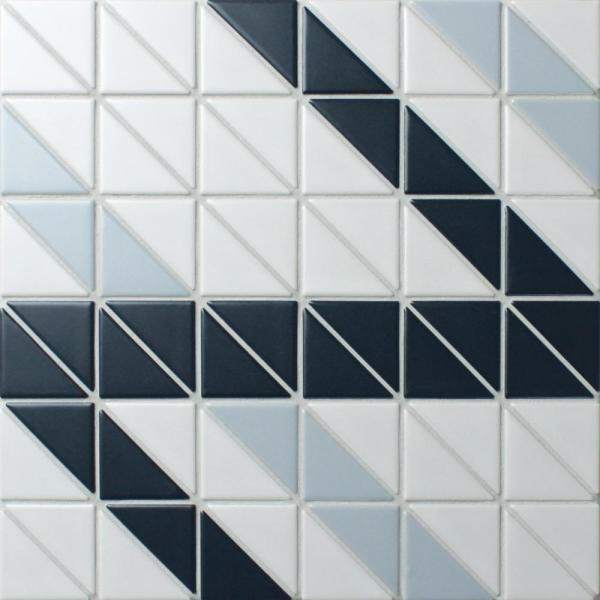 Tre Ribbon Blue Ice Mix 10-3/4 in. x 10-3/4 in. x 6mm Porcelain Mosaic Tile
