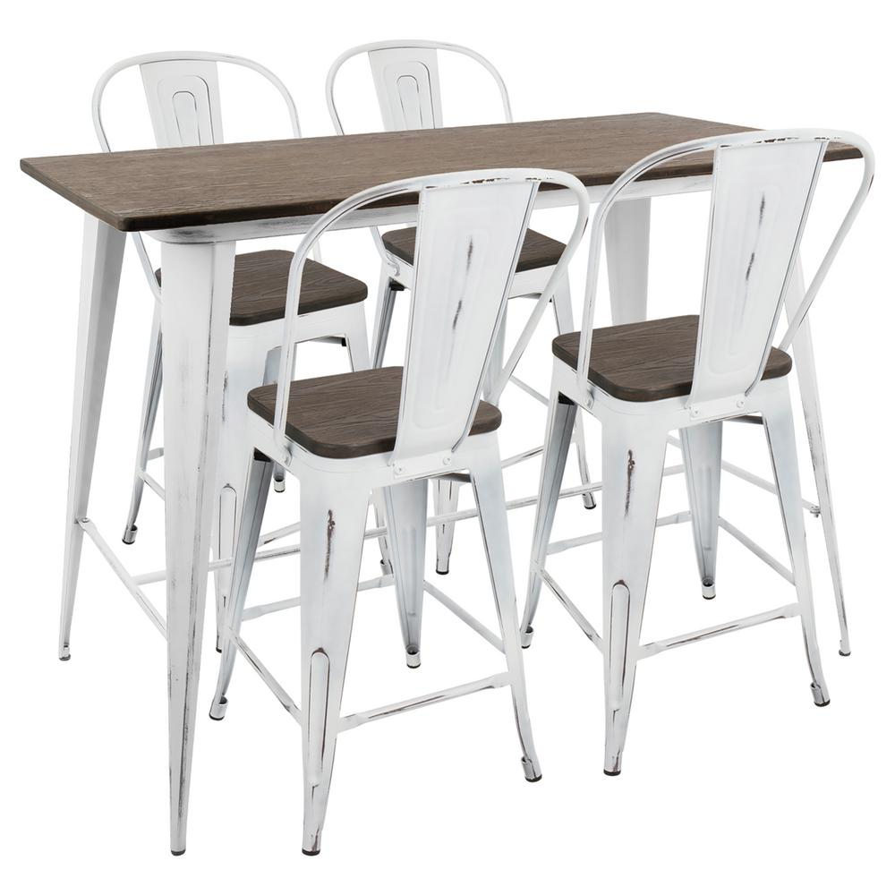 Oregon High Back 5 Piece Vintage White And Espresso Counter Height Dining Set