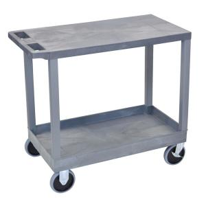 35.25 in. W x 18 in. D x 33.5 in. H 1-Tub 1-Flat Shelf Utility Cart with 5 in. Casters in Gray