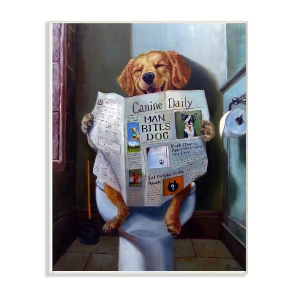 12.5 in. x 18.5 in. ''Dog Reading the Newspaper On Toilet Funny Painting'' by Artist Lucia Heffernan Wood Wall Art