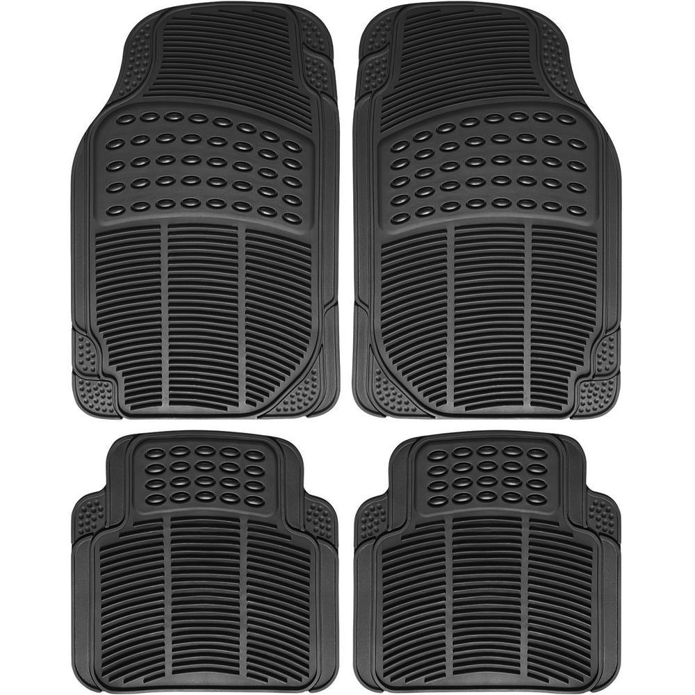 Ridged Style Black 4-Piece 29.5 in. x 17.5 in Heavy Duty Rubber . Floor Mats