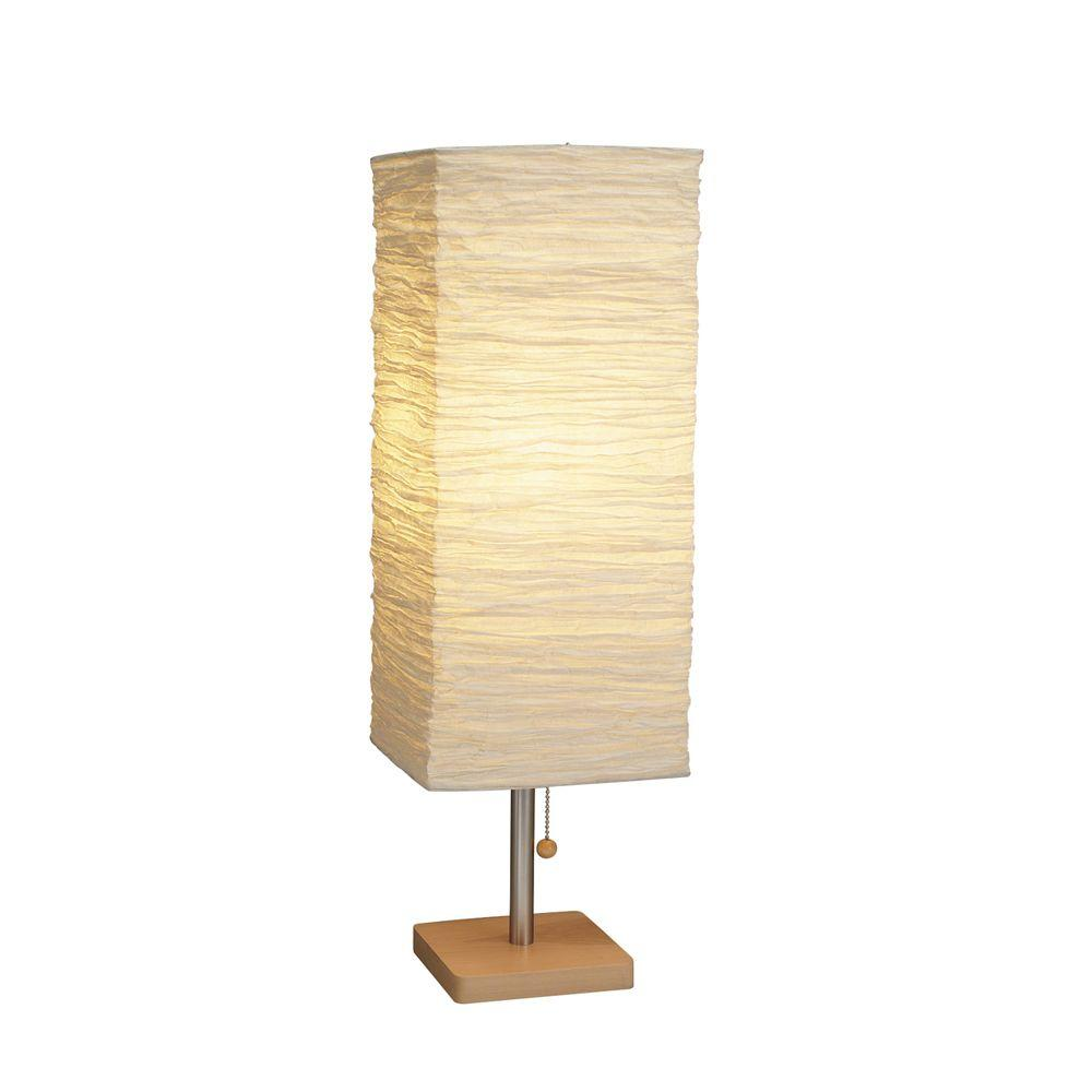 Natural Wood/Satin Steel Table Lamp