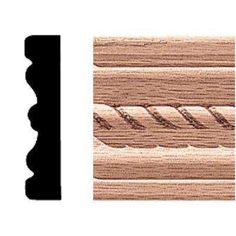 1/2 in. 2-1/4 in x 7 ft. Oak Rope Fluted Mullion/Casing