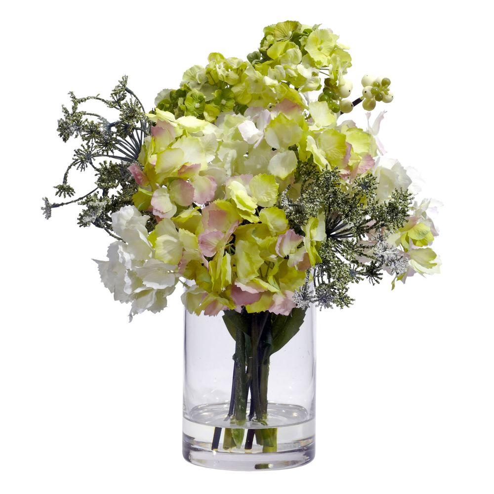 Nearly Natural 14 in. H Assorted Hydrangea Silk Flower Arrangement