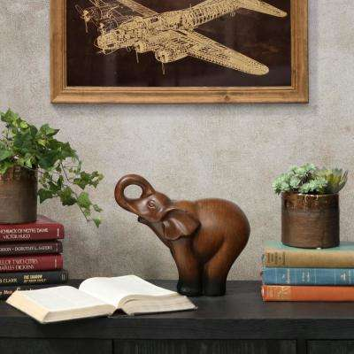 10.5 in. H Elephant Decorative Figurine in Brown Finish