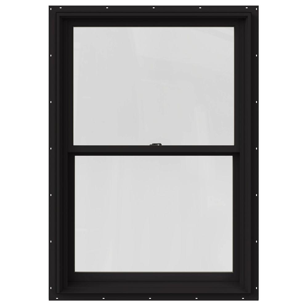 JELD-WEN 29.375 in. x 48 in. W-2500 Series Black Painted Clad Wood Double Hung Window w/ Natural Interior and Screen