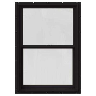 29.375 in. x 48 in. W-2500 Series Black Painted Clad Wood Double Hung Window w/ Natural Interior and Screen