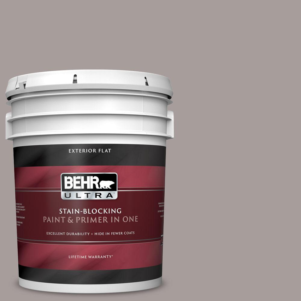 Behr Ultra 5 Gal T16 18 Mauve Melody Flat Exterior Paint And Primer In One 485405 The Home Depot