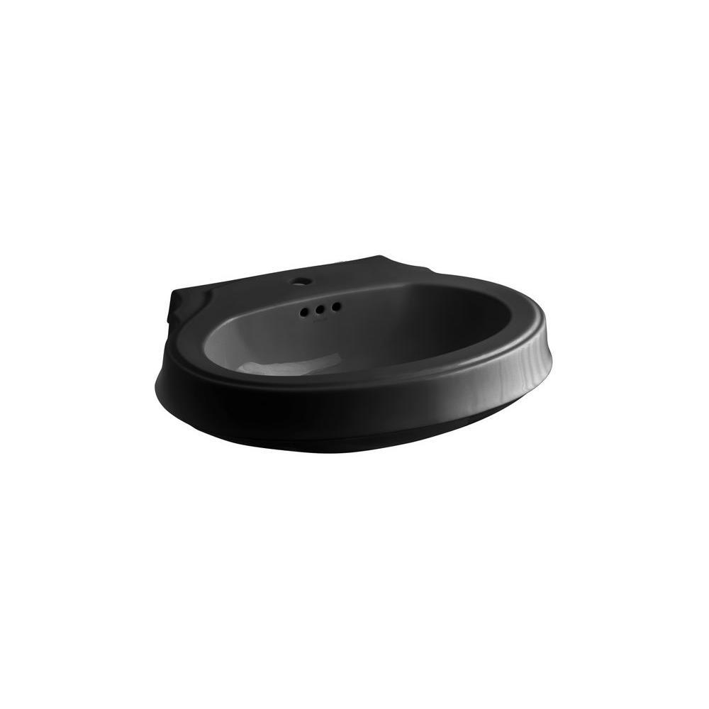 KOHLER Leighton 4-1/8 in. Pedestal Sink Basin in Black Black-DISCONTINUED