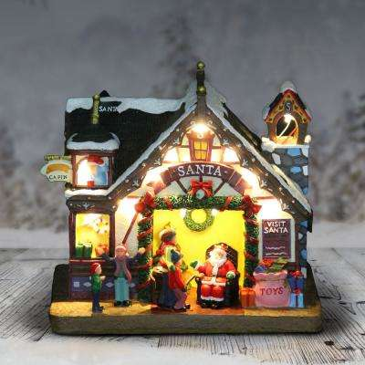 8 in. Battery Powered Christmas Santa House with Timer