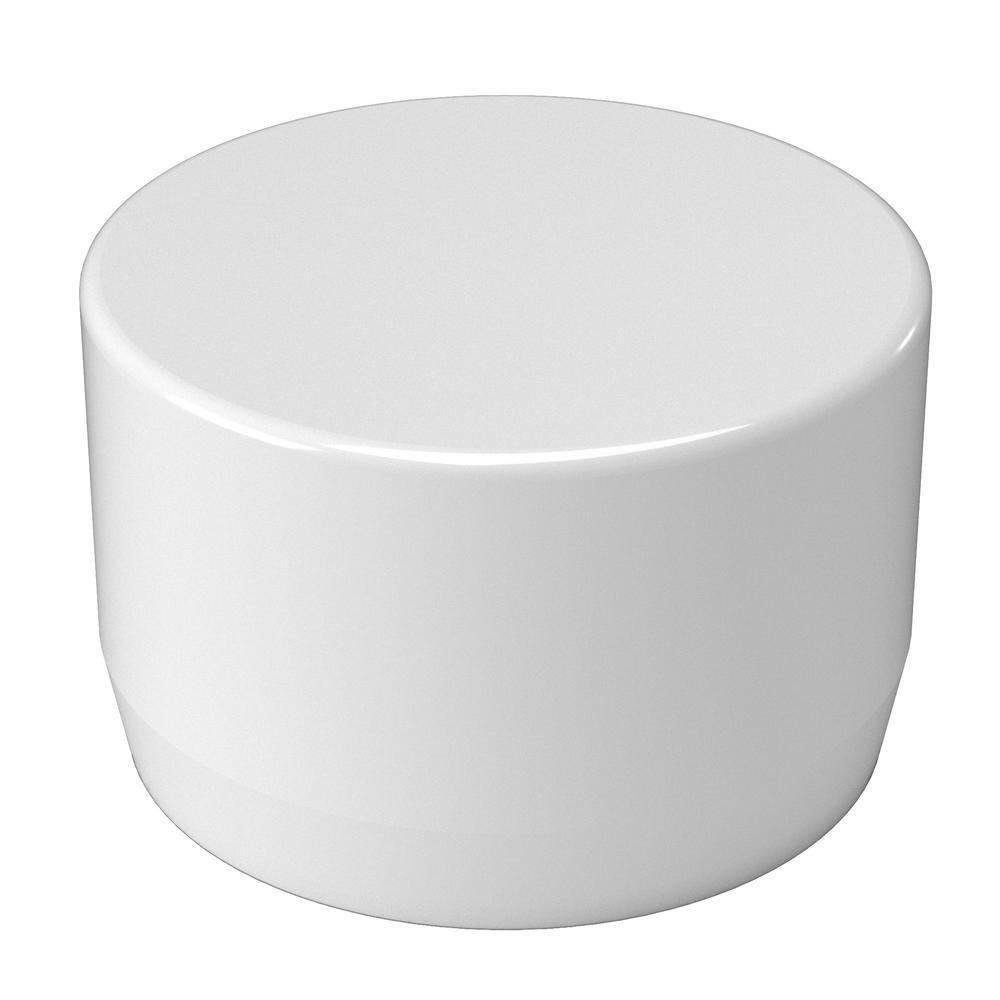 1/2 in. Furniture Grade PVC External Flat End Cap in White (10-Pack)