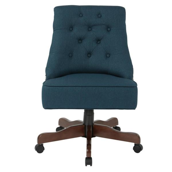 Rebecca Klein Azure Fabric Tufted Office Chair with Nail-Heads with Coffee Base